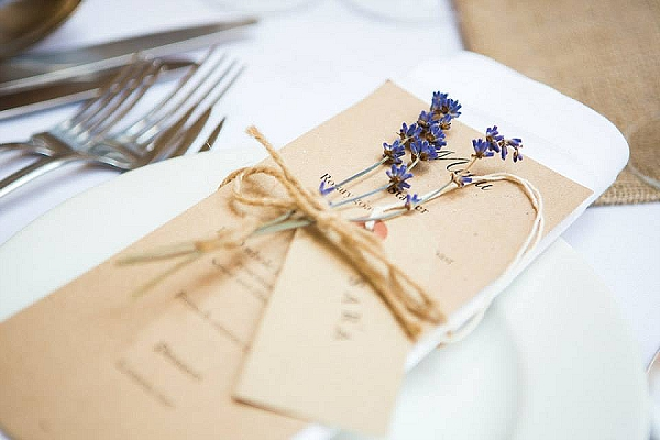 lavender place settings with dried lavender on menu