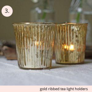 gold ribbed tea light holders