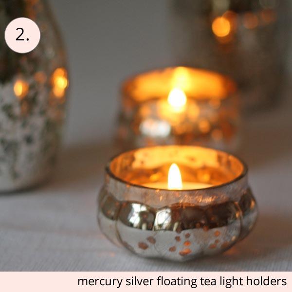 mercury silver floraing tea light holders