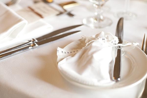 mr and mrs ribbon frayed edges on napkins wedding