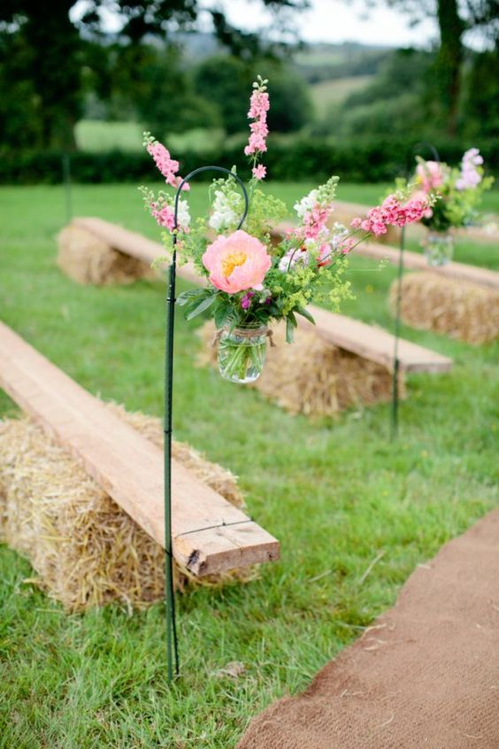 outdoor wedding ceremony hanging jars