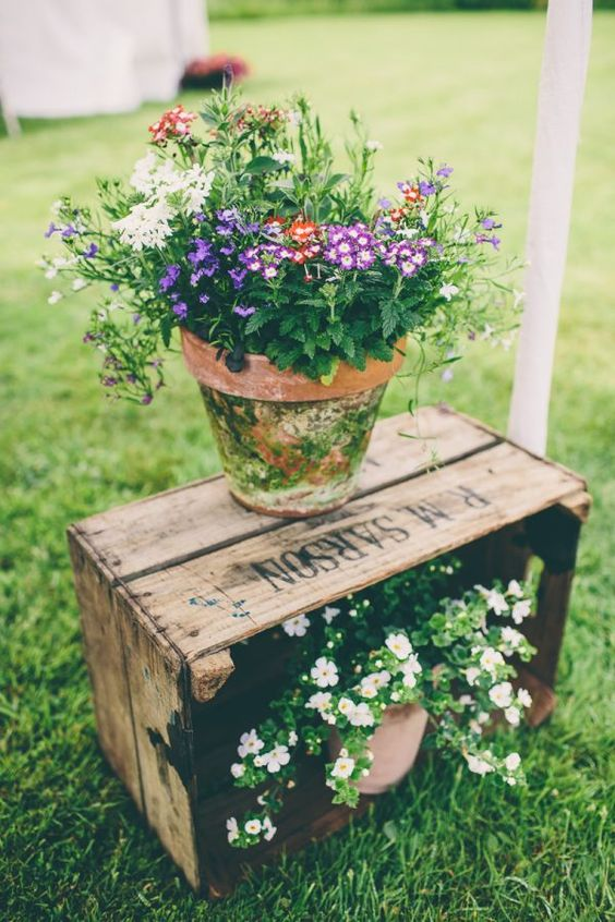 outdoor wedding ceremony potted plants