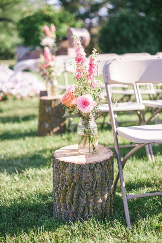 outdoor wedding ceremony tree stumps