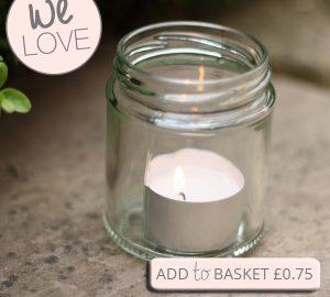 plain glass jam jars with lids for wedding favours tea lights