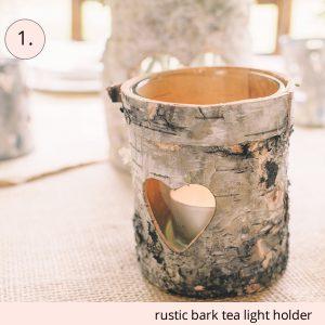 rustic bark tea light holders