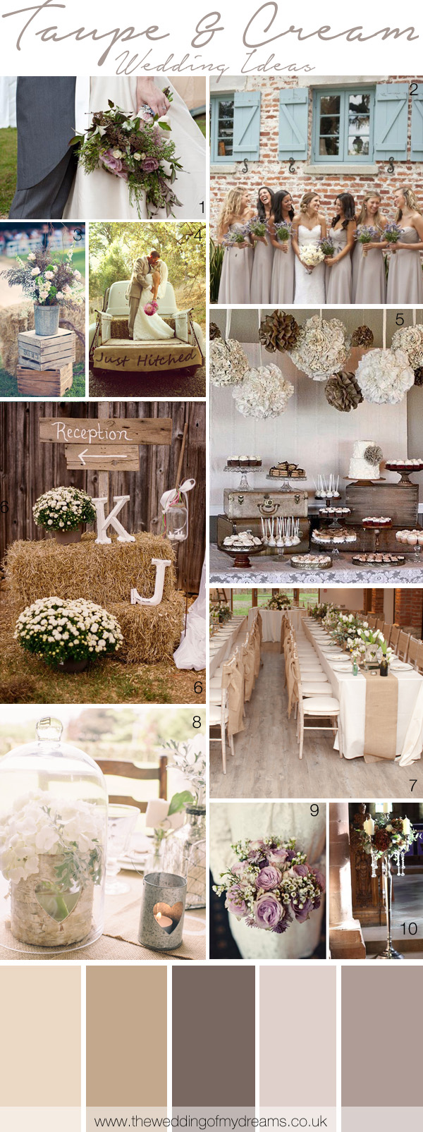 Cream Taupe Wedding Inspiration Ideas