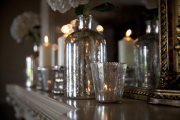 mecury silver glass candle holders and bottles