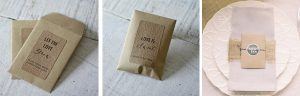 wedding favours in small brown envelopes