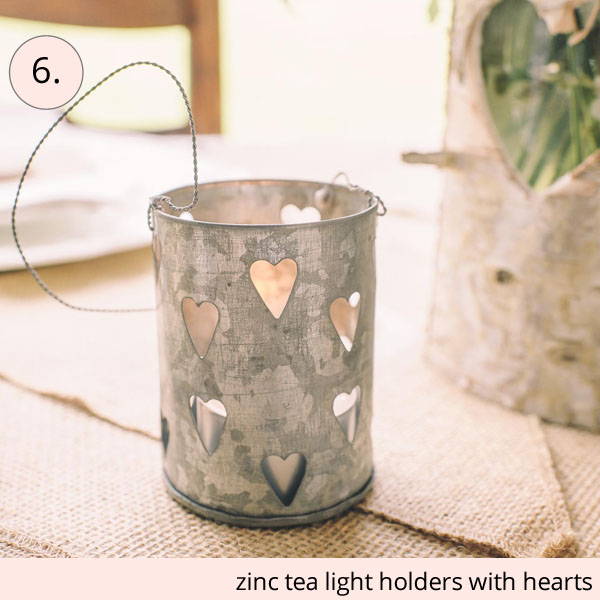 zinc tea light holders with hearts