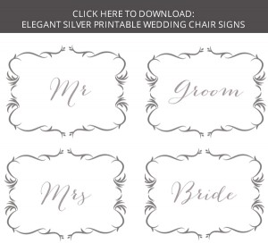 FREE DOWNLOAD Printable Wedding Chair Signs - Bride & Groom ...