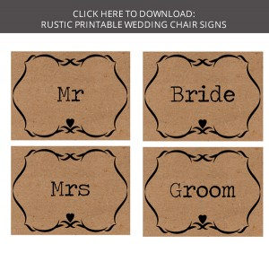 FREE DOWNLOAD Printable Wedding Chair Signs Bride Groom Signs - Free wedding sign templates