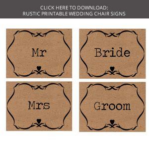FREE download rustic printable wedding chair signs mr mrs bride groom