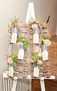 english country garden wedding talbe plan with flower pots
