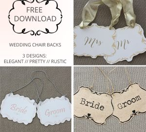 free download printable wedding chair backs mr mrs bride groom rustic elegant pretty pink