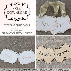 free download printable wedding chair backs mr mrs bride groom rustic elegant pretty pink