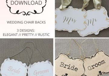 FREE DOWNLOAD Printable Wedding Chair Signs U2013 Bride U0026 Groom Signs