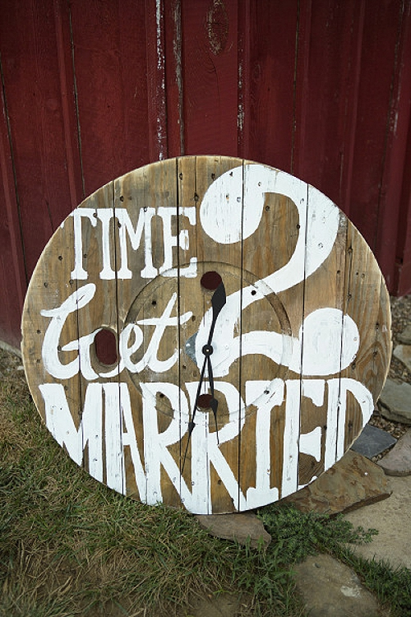 its time to get married wedding signs on barrel