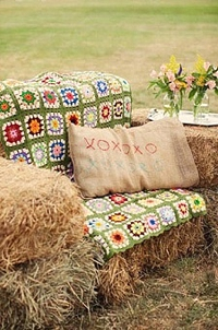 seating from bales of hay ideal for an english country garden wedding