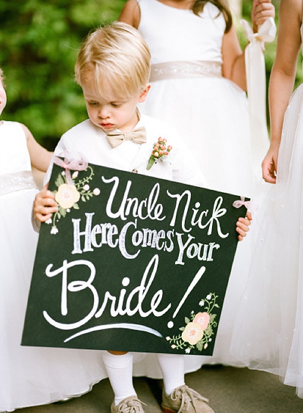 wedding ceremony signs here comes the bride blackboard