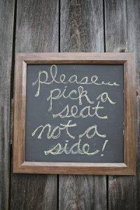 wedding ceremony signs ideas blackboard please pick a seat not a side