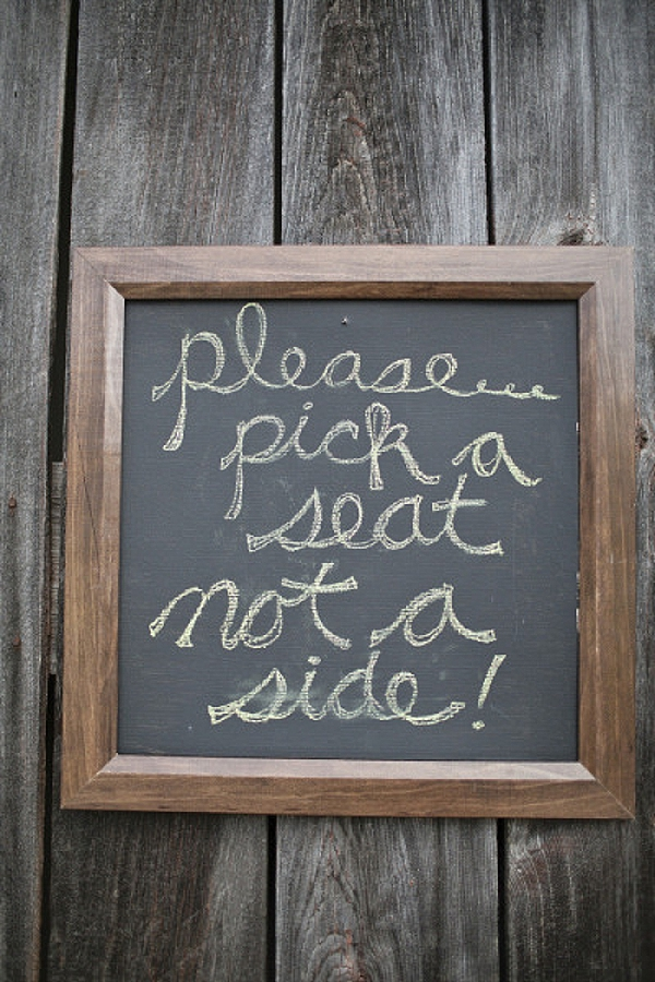 wedding ceremony signs ideas blackboard please pick a seat not a side