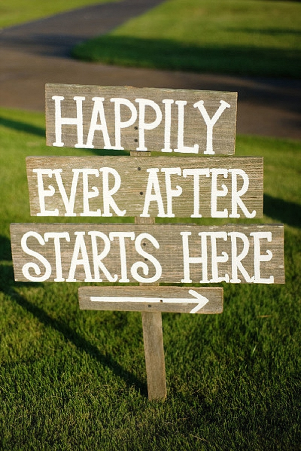 wedding ceremony signs ideas happily ever after starts here