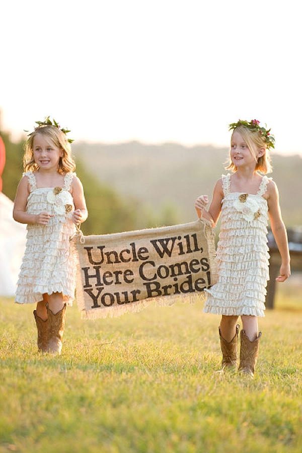 wedding ceremony signs ideas here comes the bride flower girls
