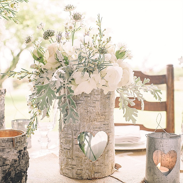 bark vases rustic wedding centrepieces