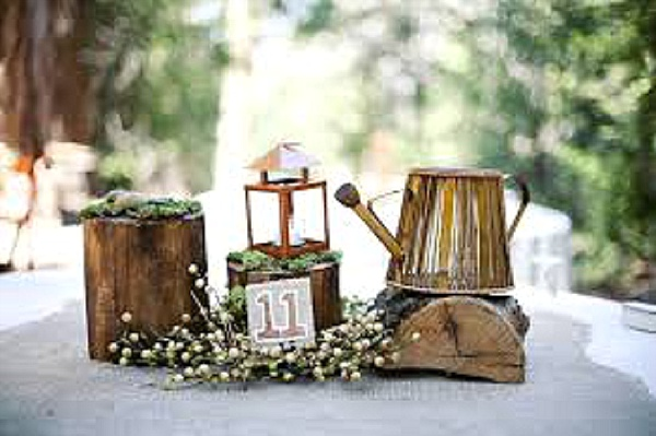 bronze watering can tree stumps rustic wedding centrepieces