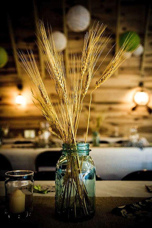 dried wheat corn in mason jar rustic wedding centrepieces