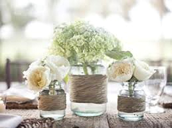 Jam Jars With Twine And Flowers Rustic Wedding Centrepiece UK Simple Wedding Table Decorations Jam Jars