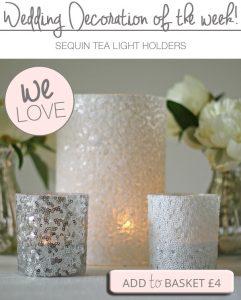 sequin tea light holders white silver