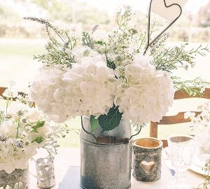 silver milk churn rustic wedding centrepiece