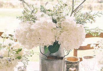 silver milk churn rustic wedding centrepiece