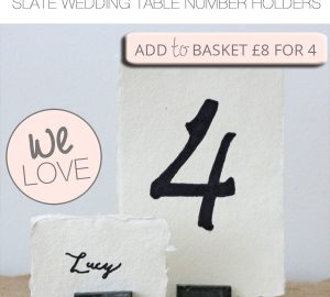 slate wedding table number holders