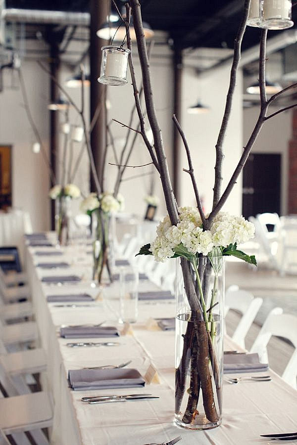 tall vase ructic wedding centrepiece with twigs