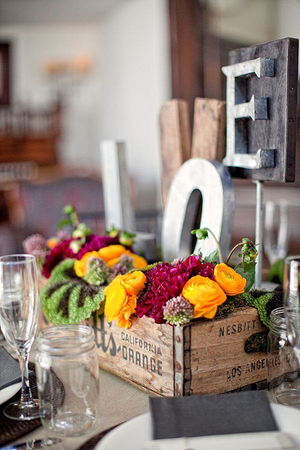 wooden box rustic wedding centrepieces