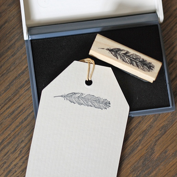 feather stamps wedding gift tag