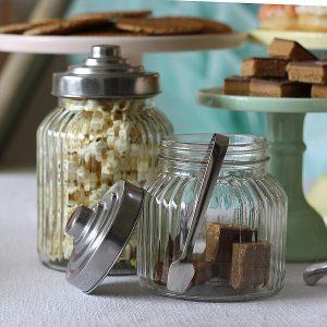 glass candy jars tongs wedding dessert table