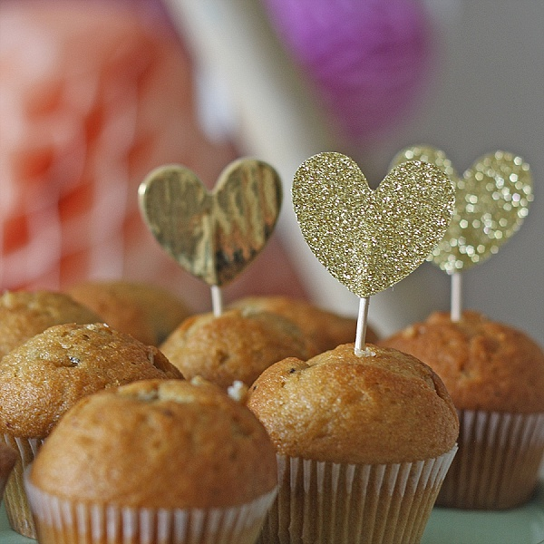 gold glitter cupcake flags hearts cake toppers wedding dessert table