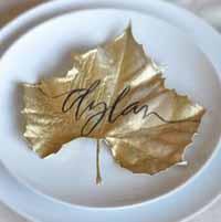 gold leaf wedding place settings
