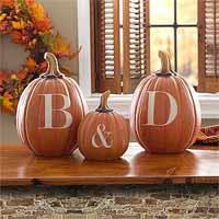 paint initials on pumpkins - wedding ideas