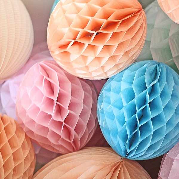 honeycomb paper pom poms large peach blush pink blue