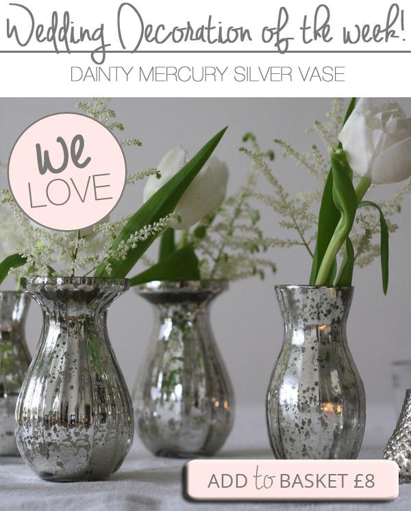 mercury silver vases wedding centrepieces