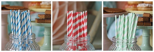 paper straws red blue mint green wedding dessert table