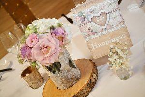 rustic wedding centrepiece ideas tree slices bark vases (1)