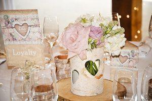 rustic wedding centrepiece ideas tree slices bark vases (2)