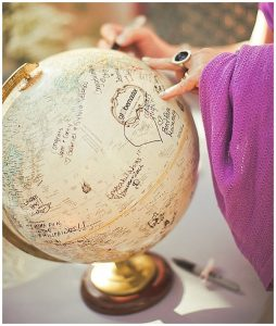 sign globe map alternative wedding guest book ideas
