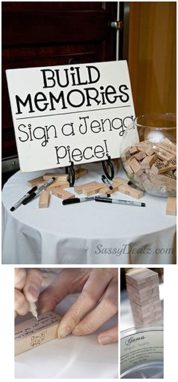 sign jenga pieces alternative wedding guest books
