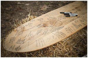 sign surfboard hobbey you both love alternative wedding guest book ideas